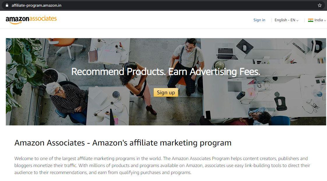 amazon affiliate program india