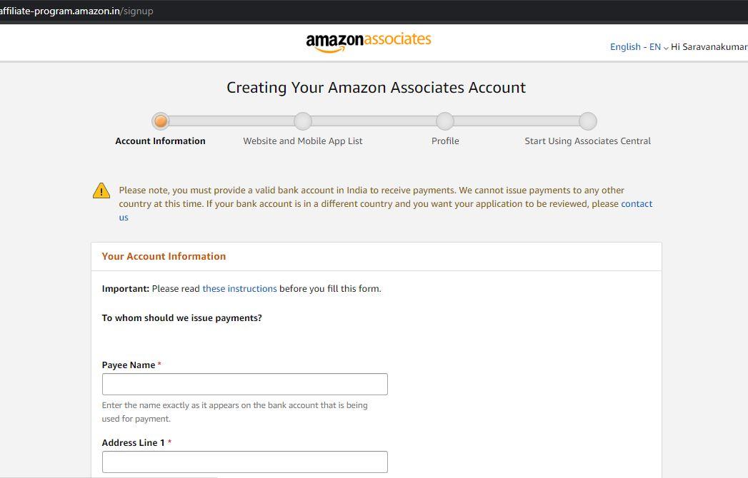 amazon associate profile